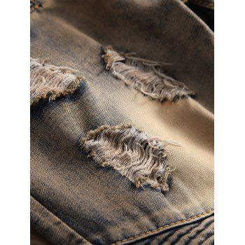 Accordion Pleat Vintage Ripped Jeans - ANTIQUE BROWN 38