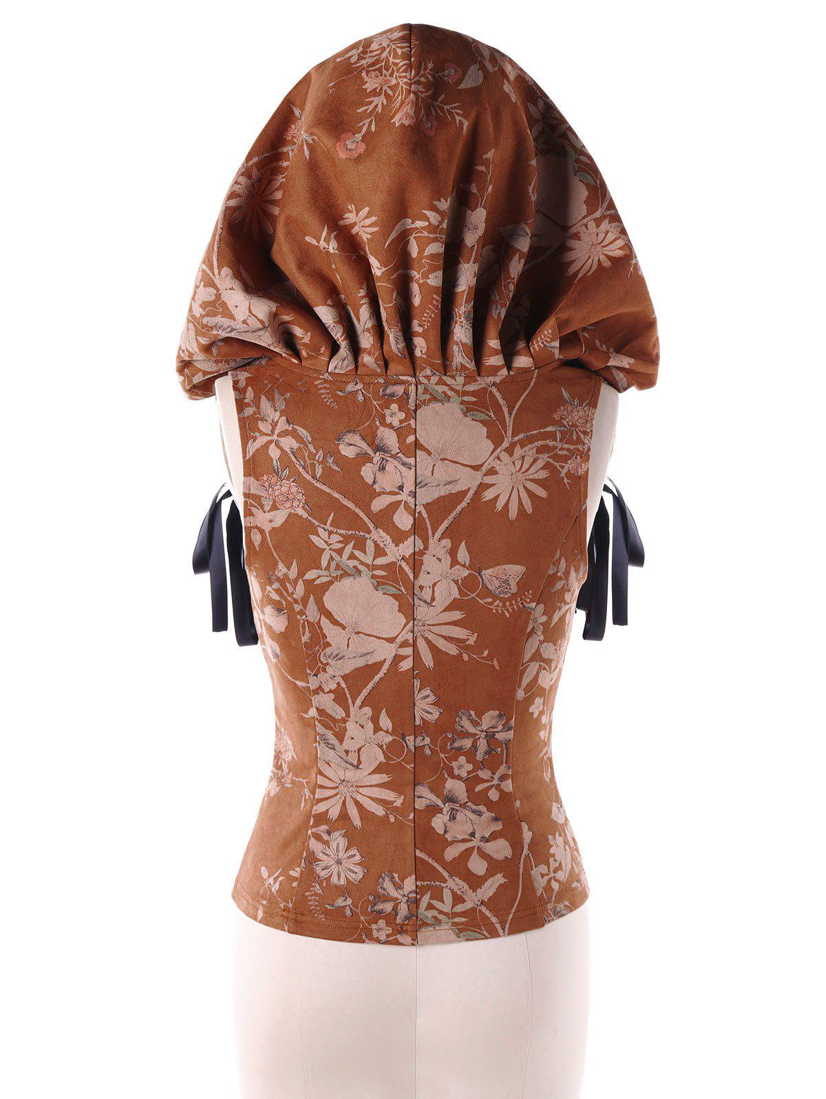 Hooded Jacquard Plus Size Corset Top - LIGHT BROWN XL