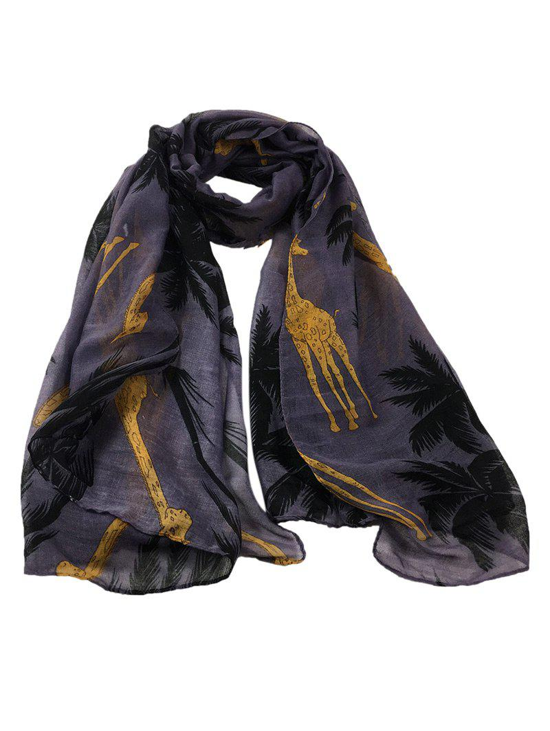 Cute Cartoon Giraffe Pattern Decorated Silky Long Scarf - DEEP GRAY