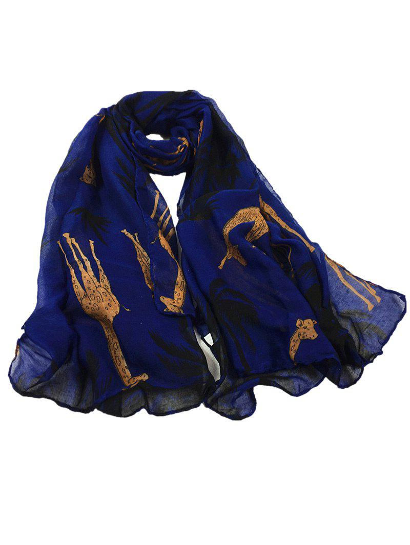 Cute Cartoon Giraffe Pattern Decorated Silky Long Scarf - ROYAL