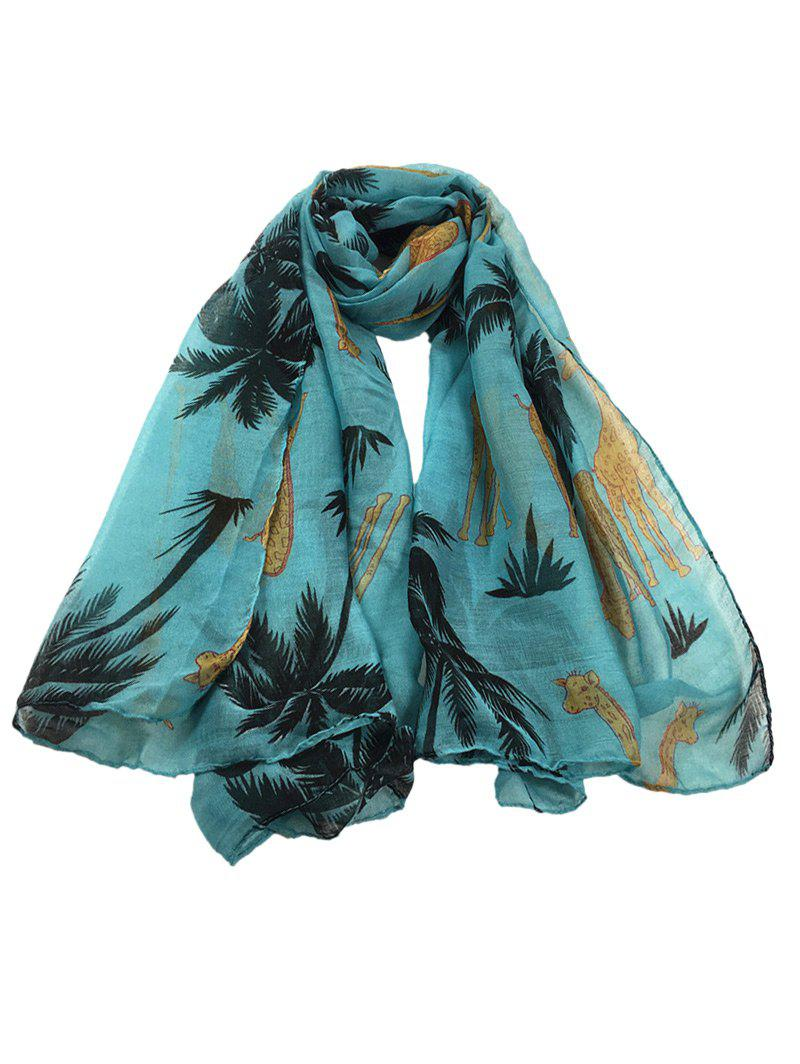 Cute Cartoon Giraffe Pattern Decorated Silky Long Scarf - AZURE
