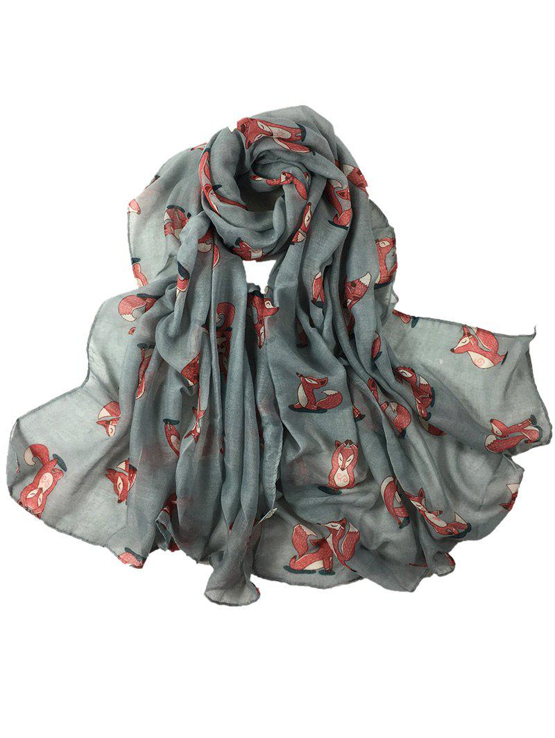 Cute Dancing Fox Decorated Long Shawl Scarf - GRAY