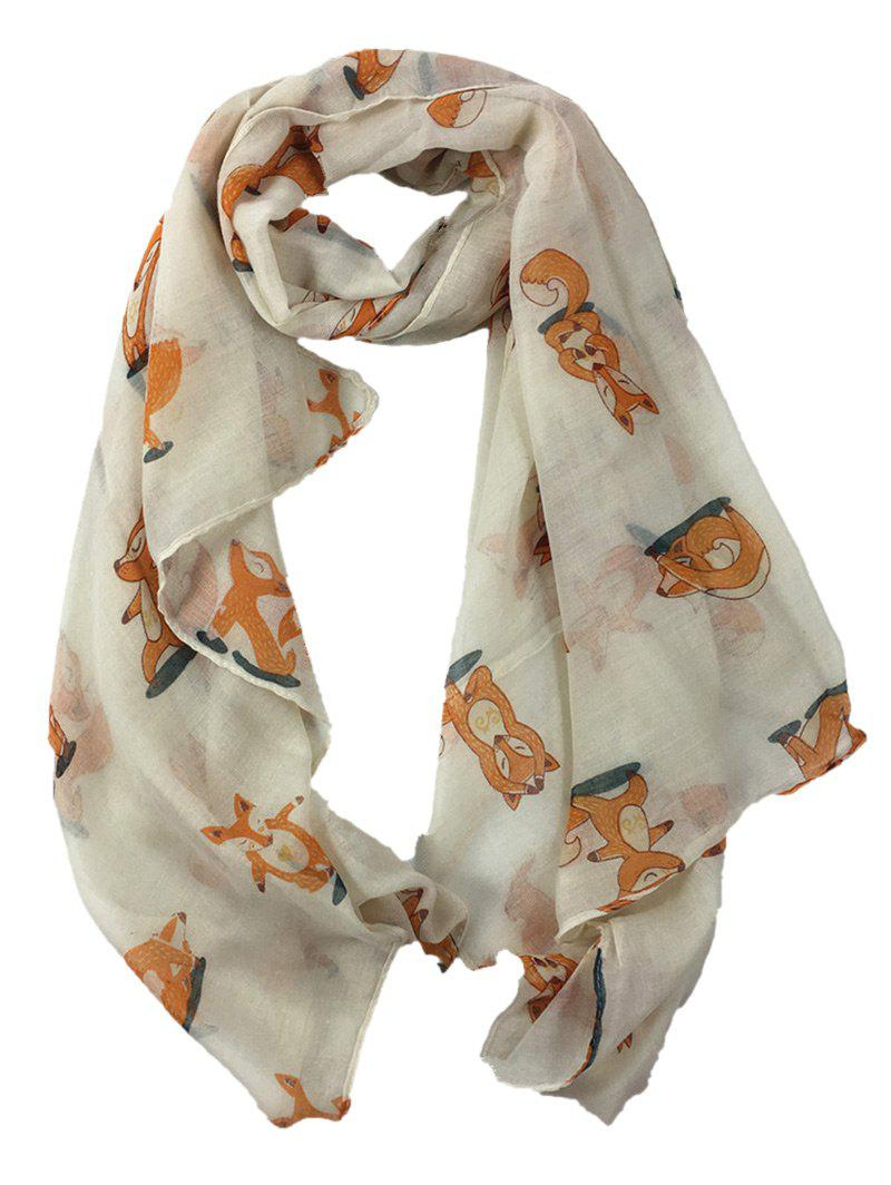 Cute Dancing Fox Decorated Long Shawl Scarf - BEIGE