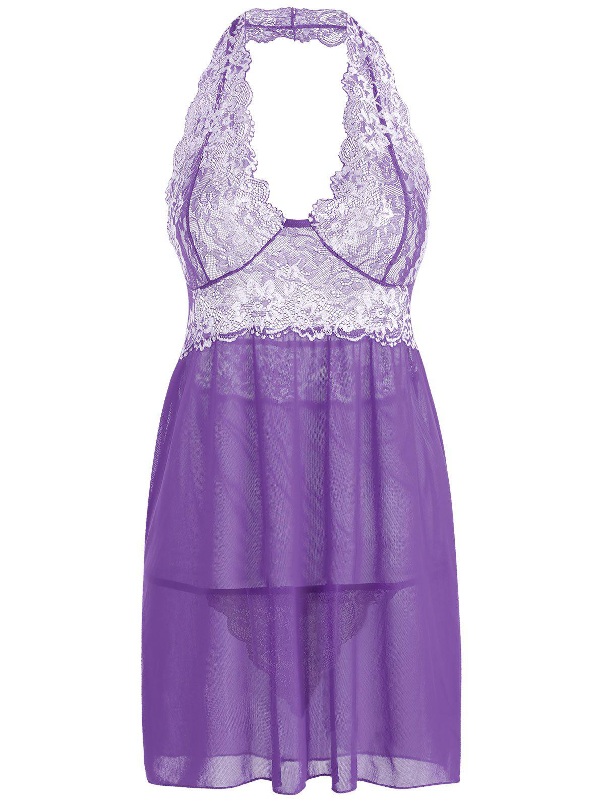 Mesh Lace Insert Halter Backless Babydoll - PURPLE XL