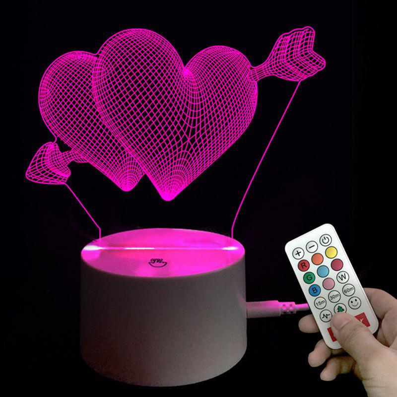 Valentine's Day Hearts Pattern Room Decorative Visual 3D Night Light - TRANSPARENT