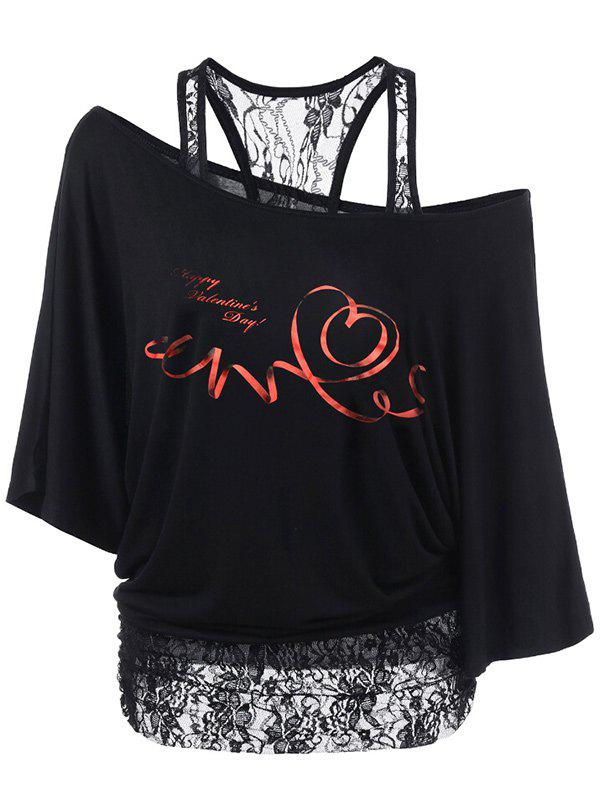 Lace Panel Valentine's Day Print T-shirt - BLACK M