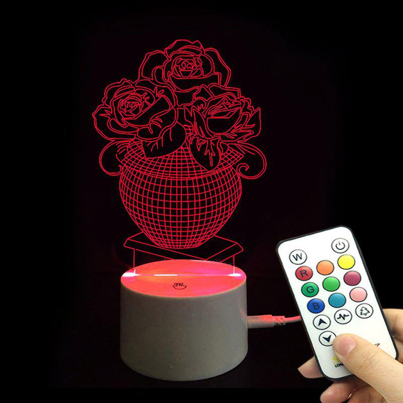 Rose Love Confession Valentine's Day Remote Control Night Light - TRANSPARENT