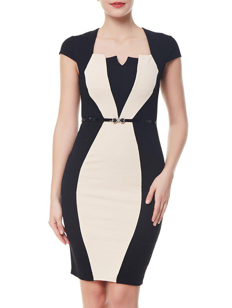 Cap Sleeve Work Bodycon Dress - COLORMIX L