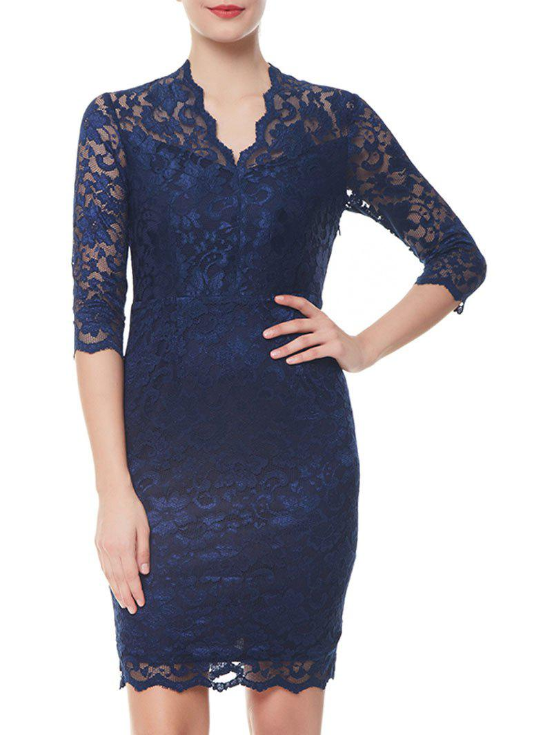 Lace Formal V-neck Sheath Dress - BLUE M