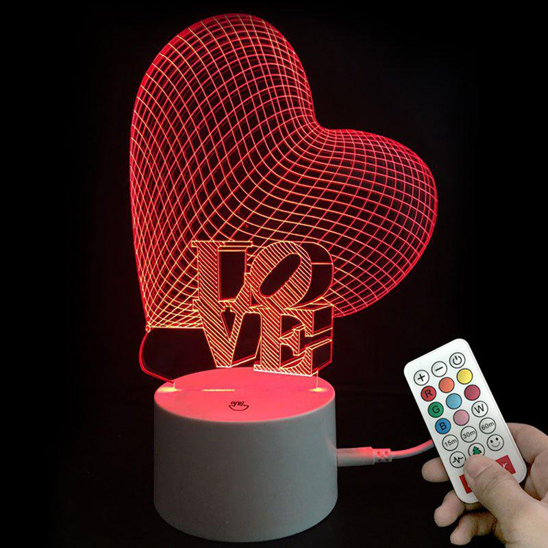 Valentines Cadeaux Couleurs Changement Coeur Love LED Night Light - Transparent