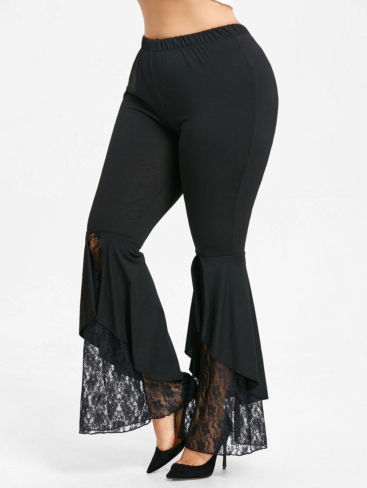 Lace Trim Plus Size Flare Leggings - BLACK 3XL