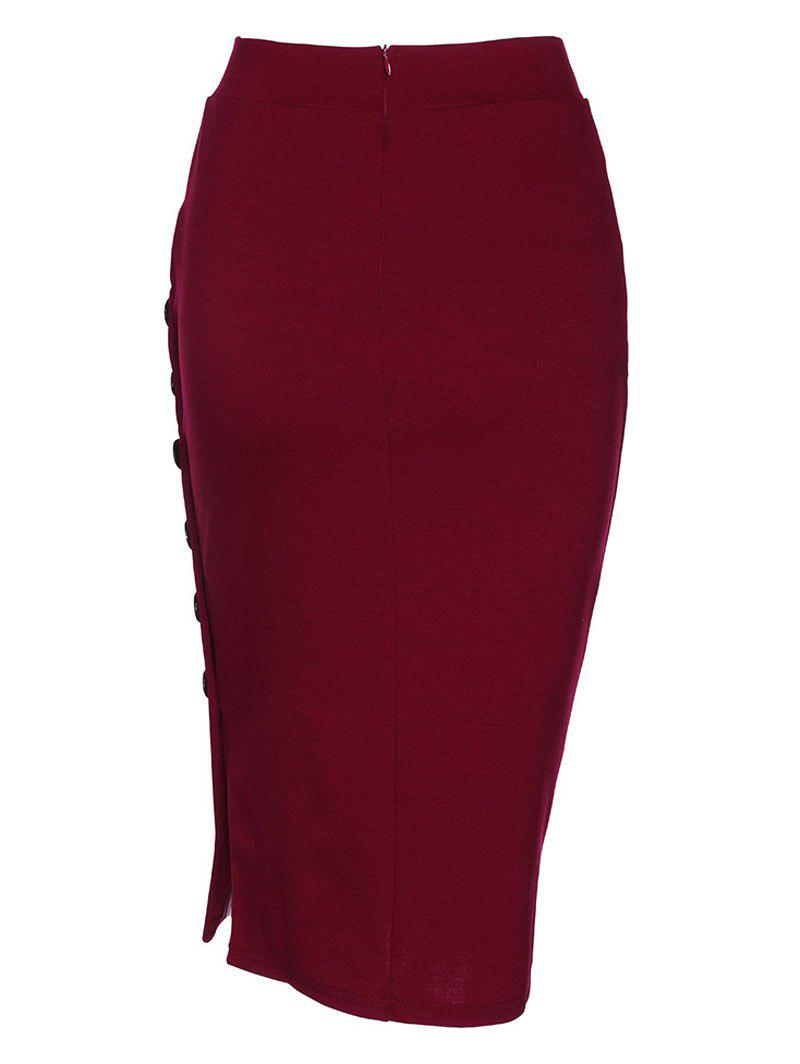 Side Button Up Slim Fit Skirt - WINE RED XL