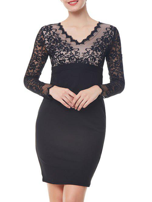 Lace Long Sleeve Bodycon Dress rivet layered velvet tie choker necklace