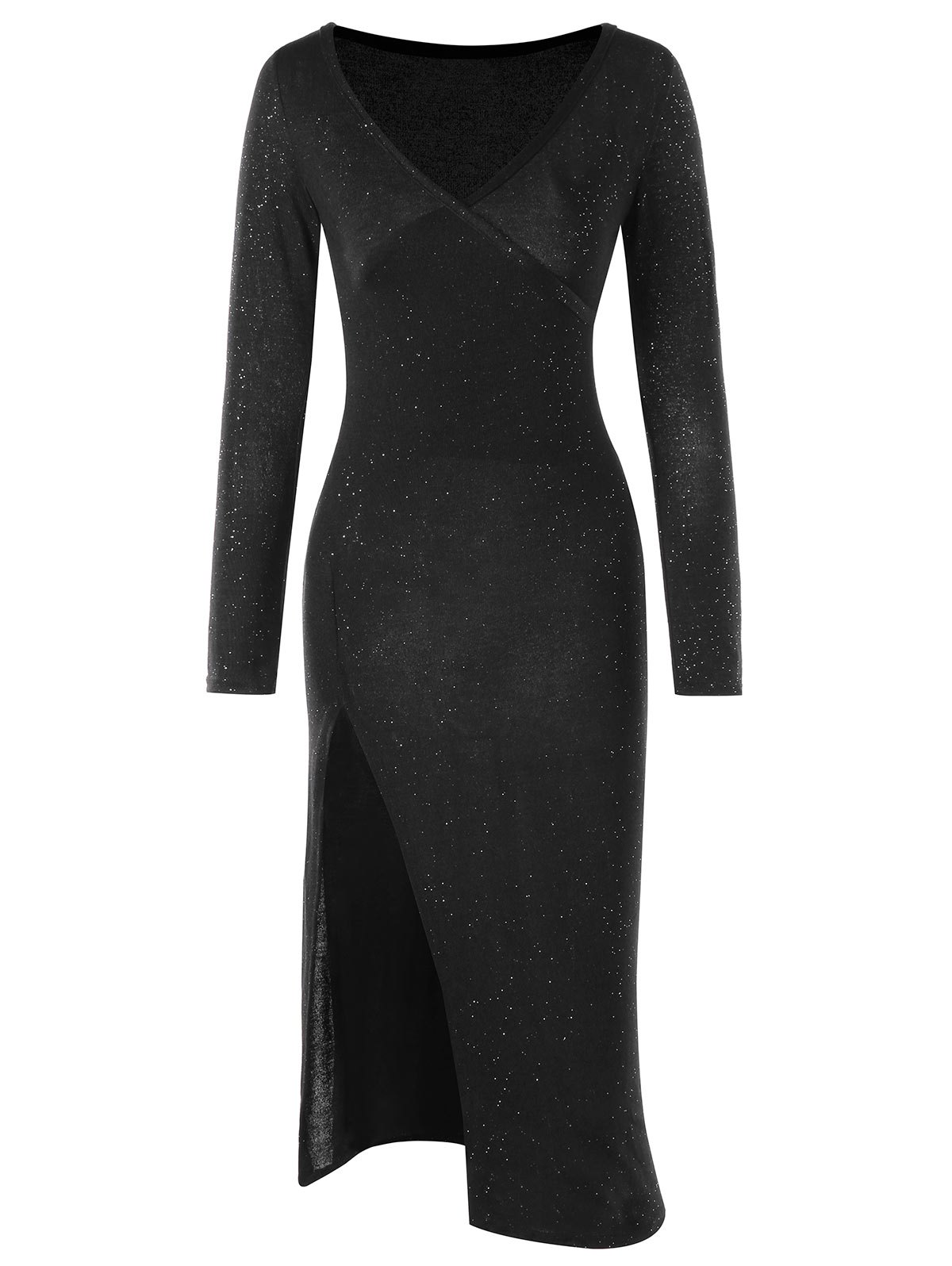 Long Sleeve High Slit Dress - BLACK S