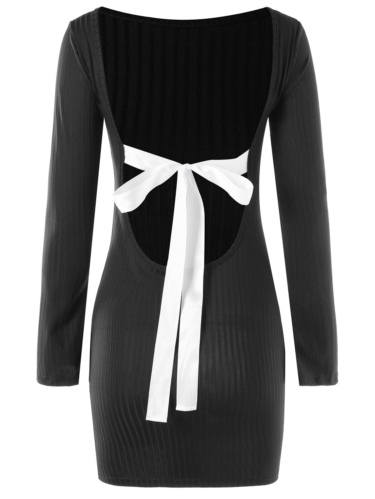Bowknot Decorated Open Back Dress - BLACK M