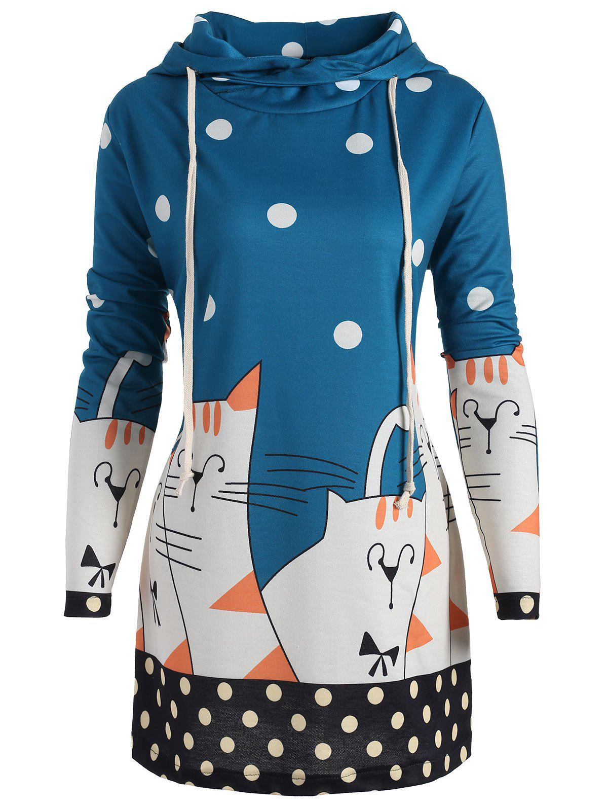 Plus Size Long Polka Dot Kitten Hoodie - BLUE 4XL
