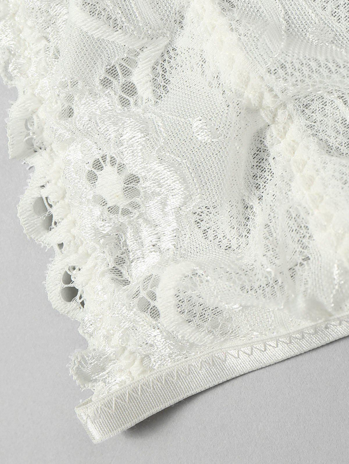 Lace Bralette Scalloped Trim Top - WHITE L