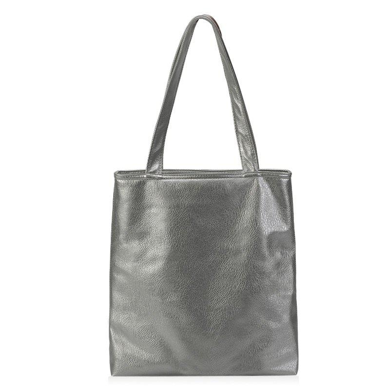 Faux Leather Double Handle Shoulder Bag - FROST