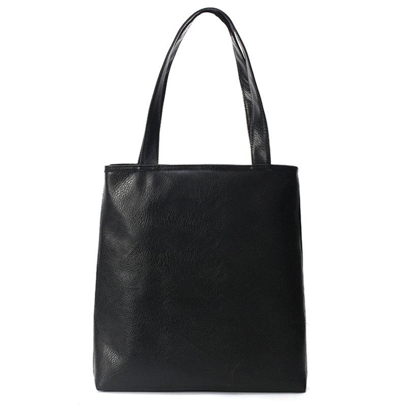Faux Leather Double Handle Shoulder Bag - BLACK