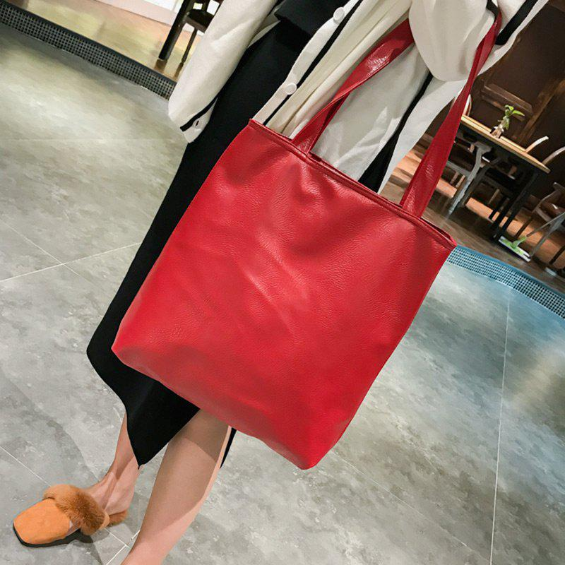 Faux Leather Double Handle Shoulder Bag - RED