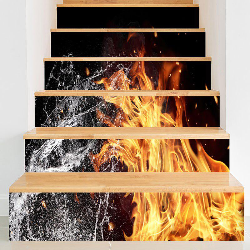 Fire and Water Pattern Decorative Stair Stickers - BLACK 100*18CM*6PCS