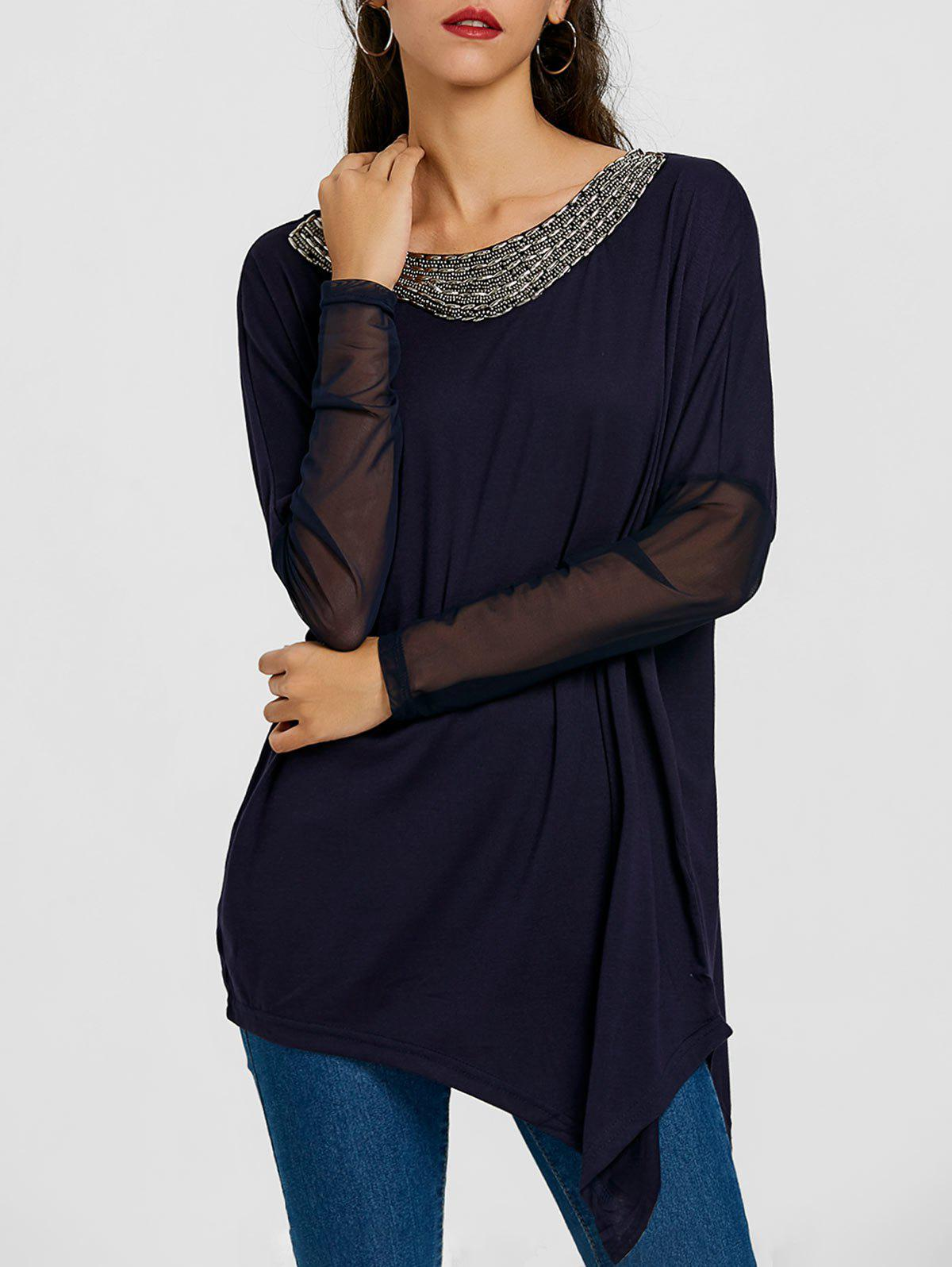 Asymmetrical Sheer Mesh Insert Tunic T-shirt pirelli scorpion winter 255 50 r19 107v xl run flat