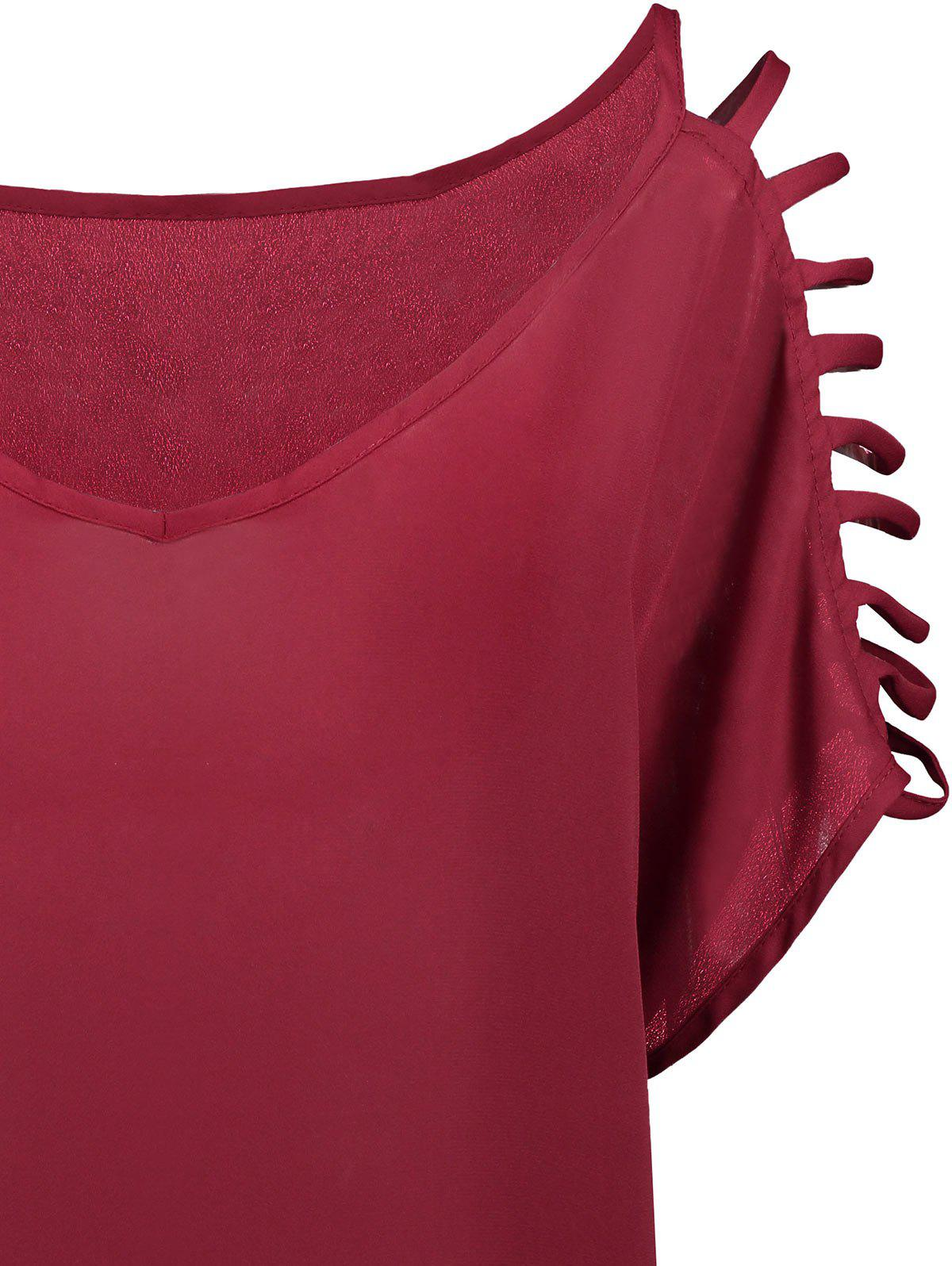 Short Sleeve Ladder Cutout Blouse - WINE RED XL
