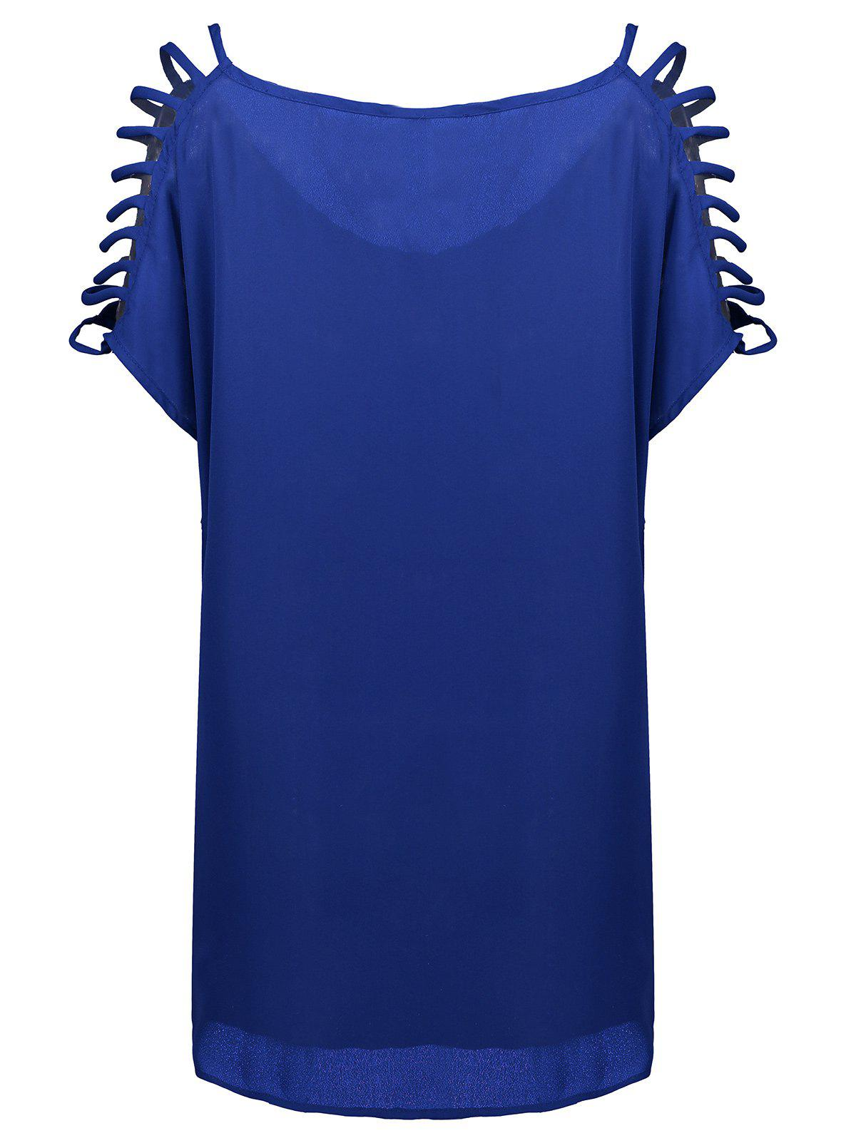 Short Sleeve Ladder Cutout Blouse - CERULEAN XL