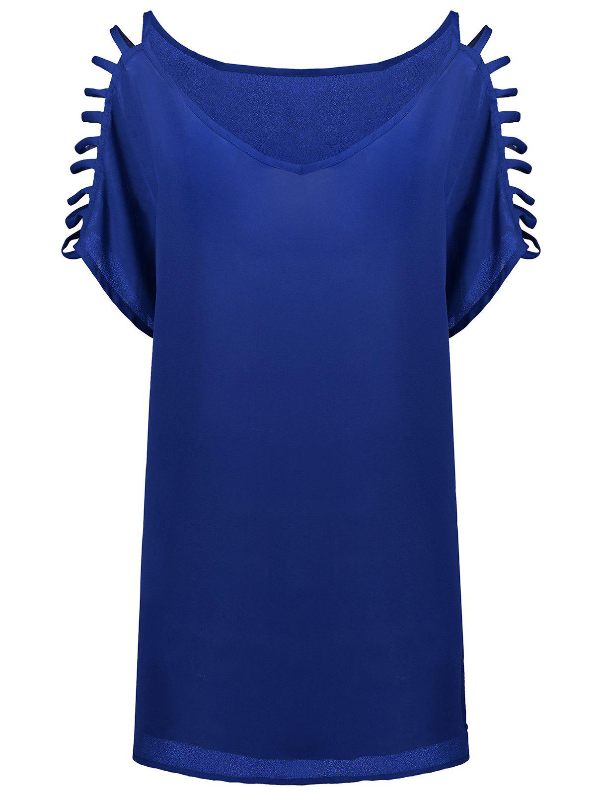 Short Sleeve Ladder Cutout Blouse - CERULEAN 2XL