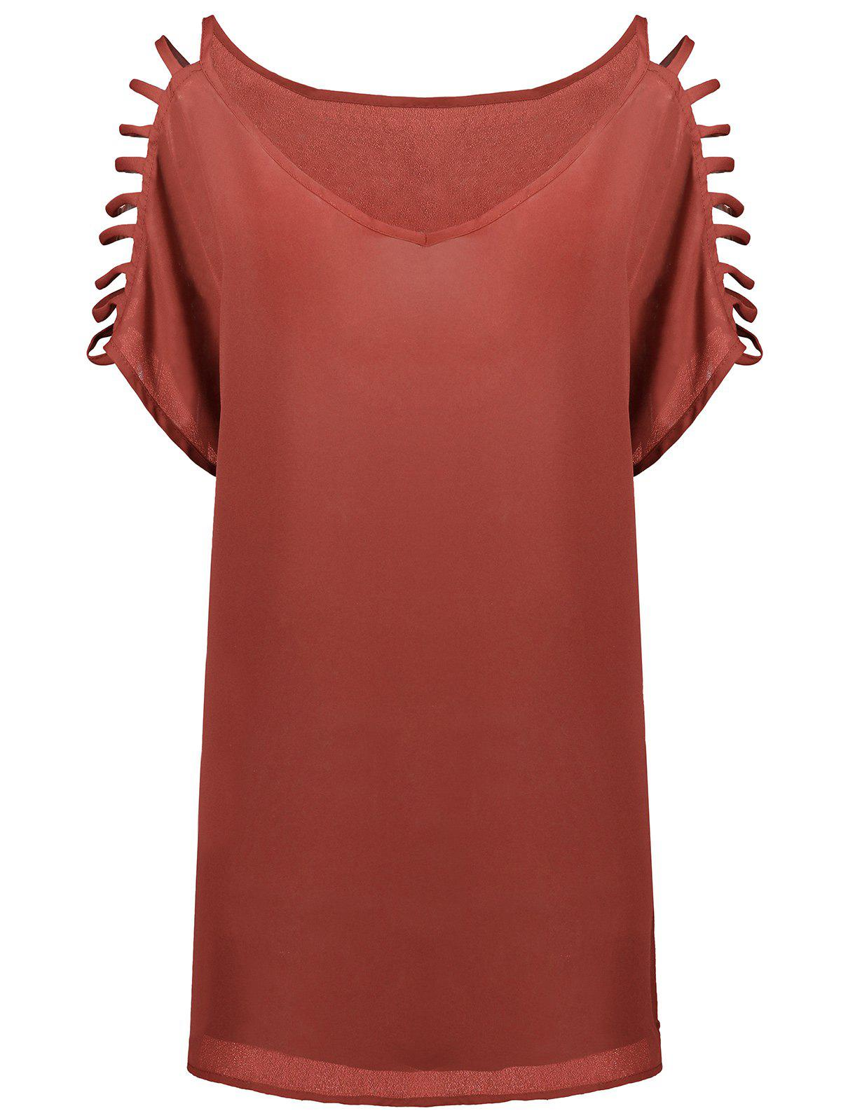 Short Sleeve Ladder Cutout Blouse - WATERMELON RED XL