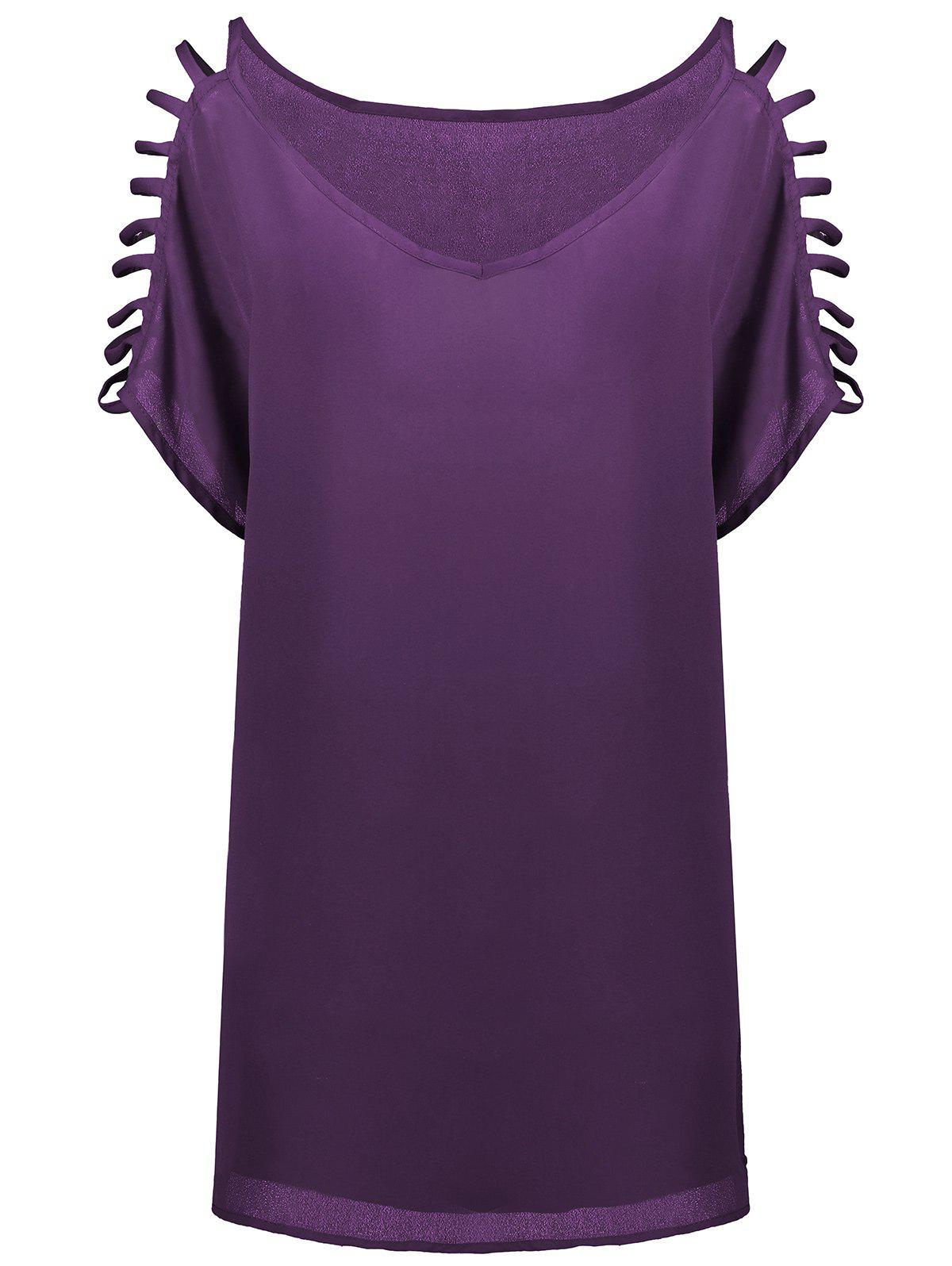 Short Sleeve Ladder Cutout Blouse - PURPLE 2XL