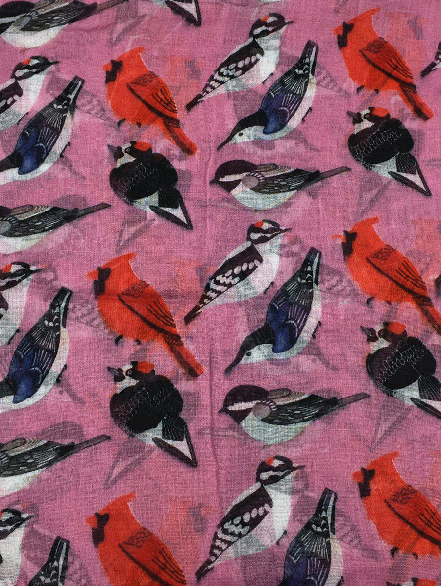 Soft Flying Birds Pattern Embellished Silky Long Scarf - PEONY PINK