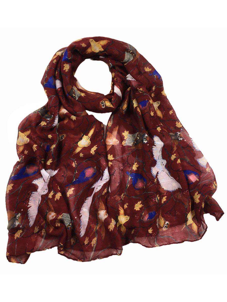 Soft Birds Pattern Embellished Silky Long Scarf - WINE RED