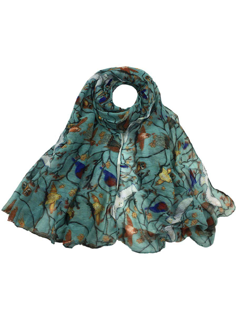 Soft Birds Pattern Embellished Silky Long Scarf - LIGHT BLUE