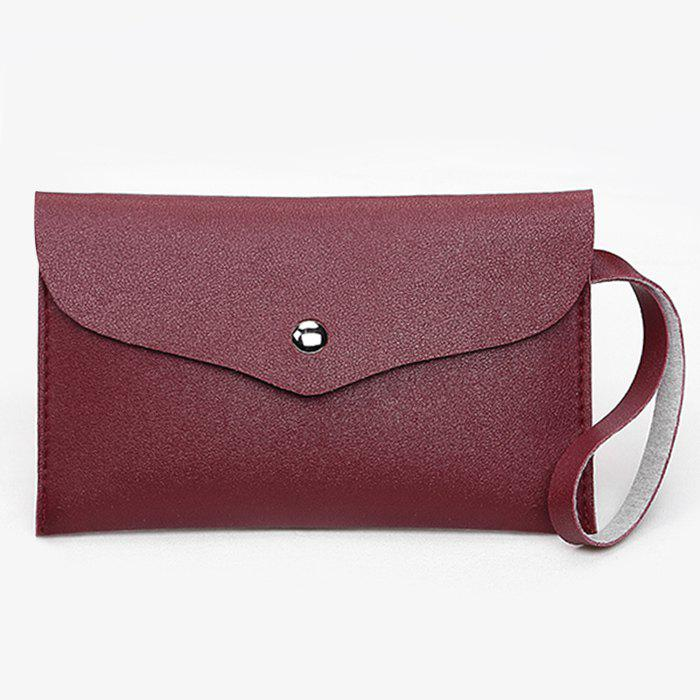 Flap PU Leather Clutch Bag - RED