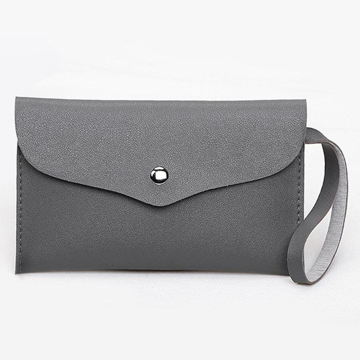 Flap PU Leather Clutch Bag - GRAY