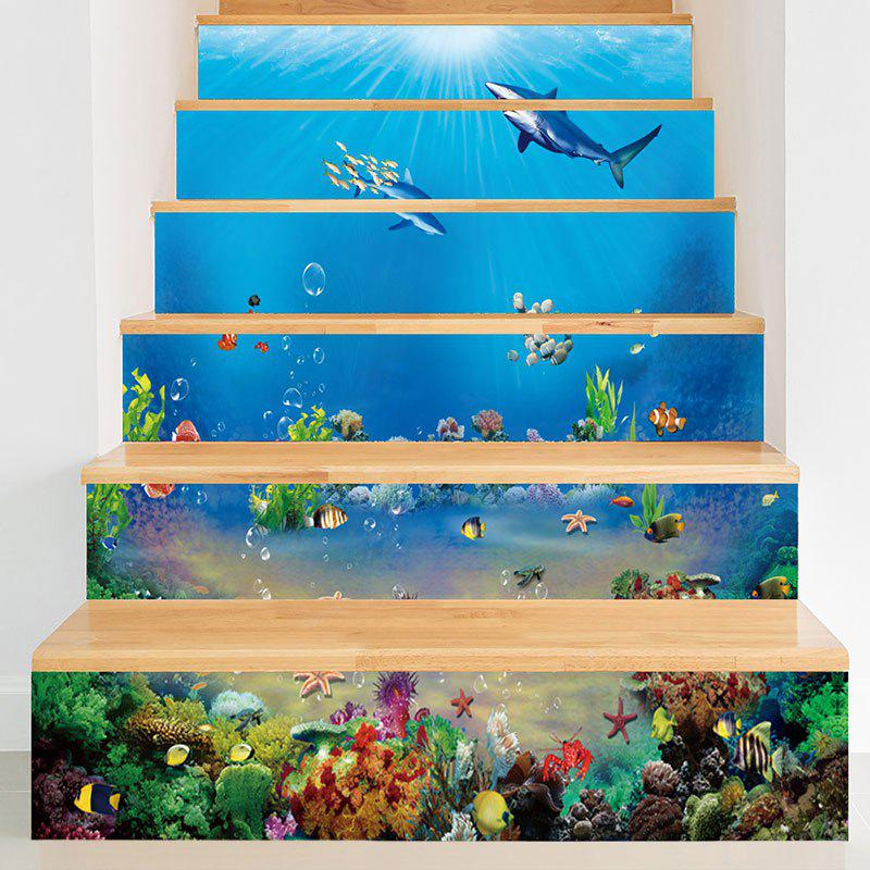 Sea World Dolphins Print Decorative Stair Decals - BLUE 100*18CM*6PCS