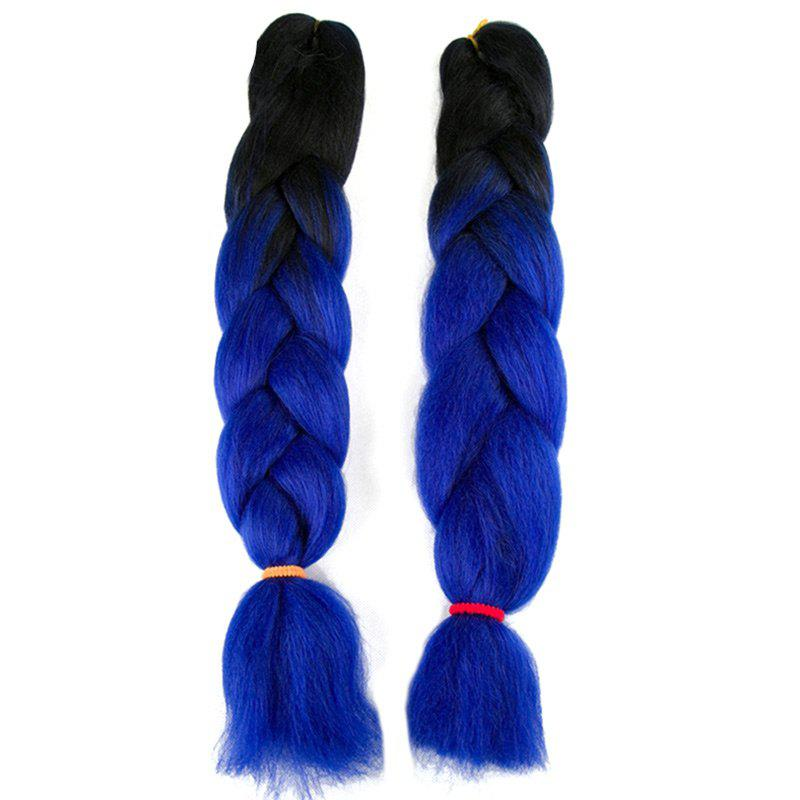 Long X-pression Braid Two Tone Synthetic Wig - BLUE/BLACK