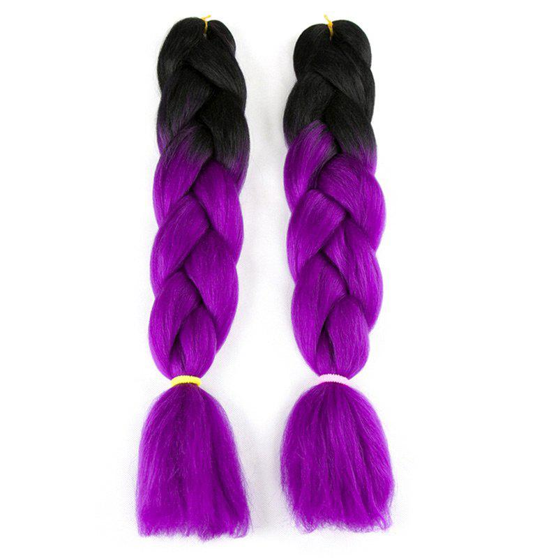 Long X-pression Braid Two Tone Synthetic Wig - BLACK/PURPLE