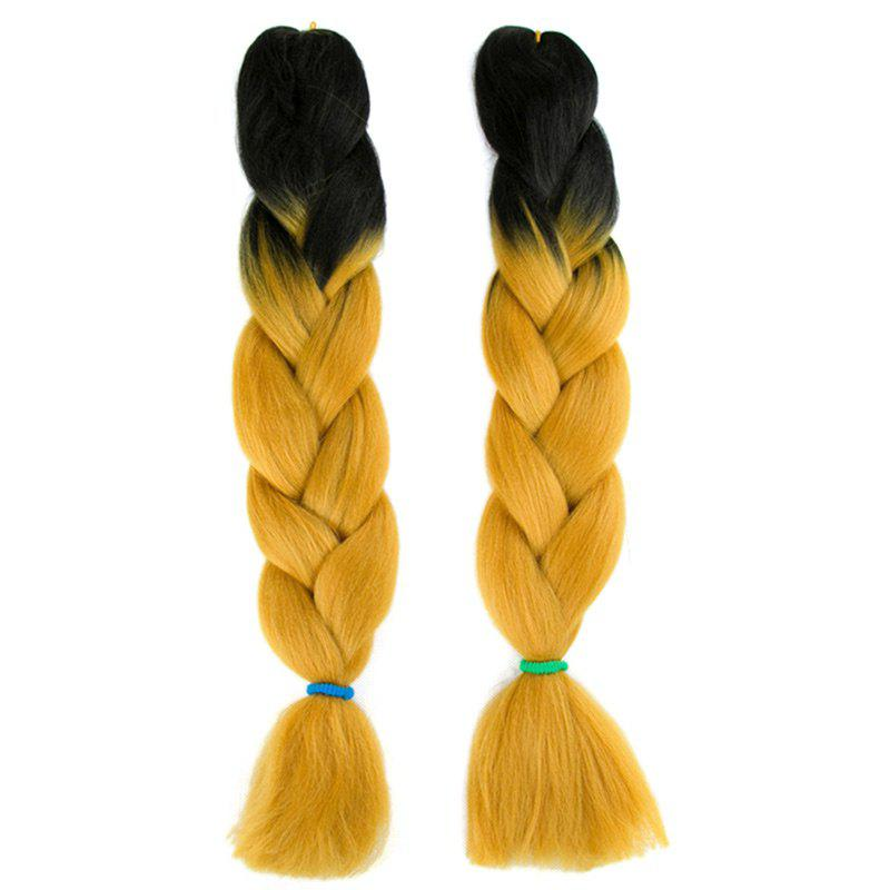 Long X-pression Braid Two Tone Synthetic Wig - BLACK/GOLDEN