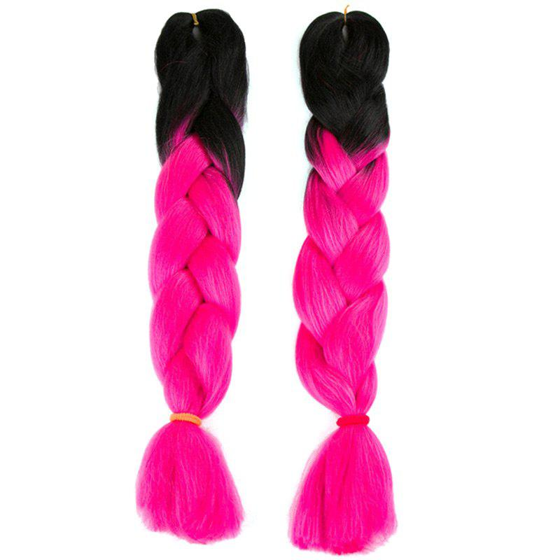Long X-pression Braid Two Tone Synthetic Wig - BLACK/ROSE RED