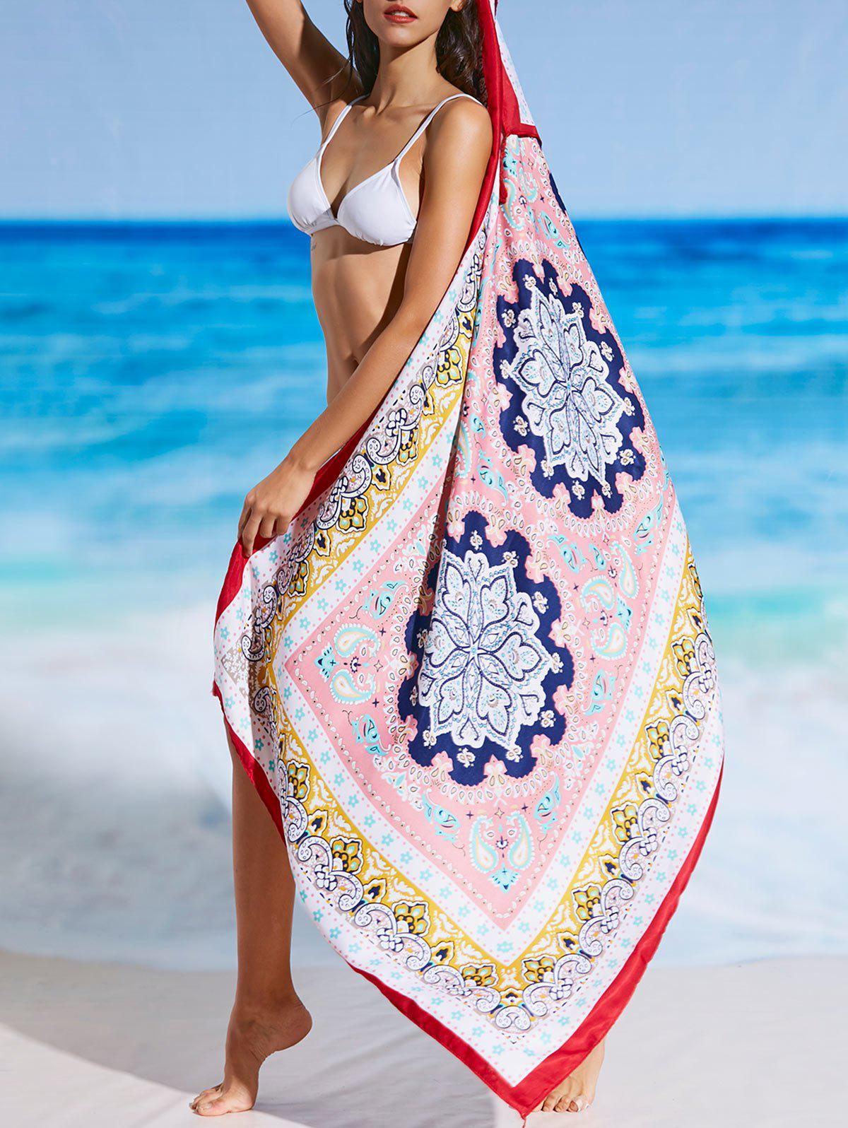 Tassel Ethnic Tribal Print Beach Throw - FLORAL ONE SIZE