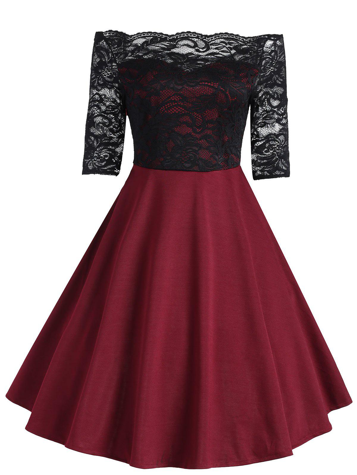 Vintage Lace Insert Off The Shoulder Dress - WINE RED L