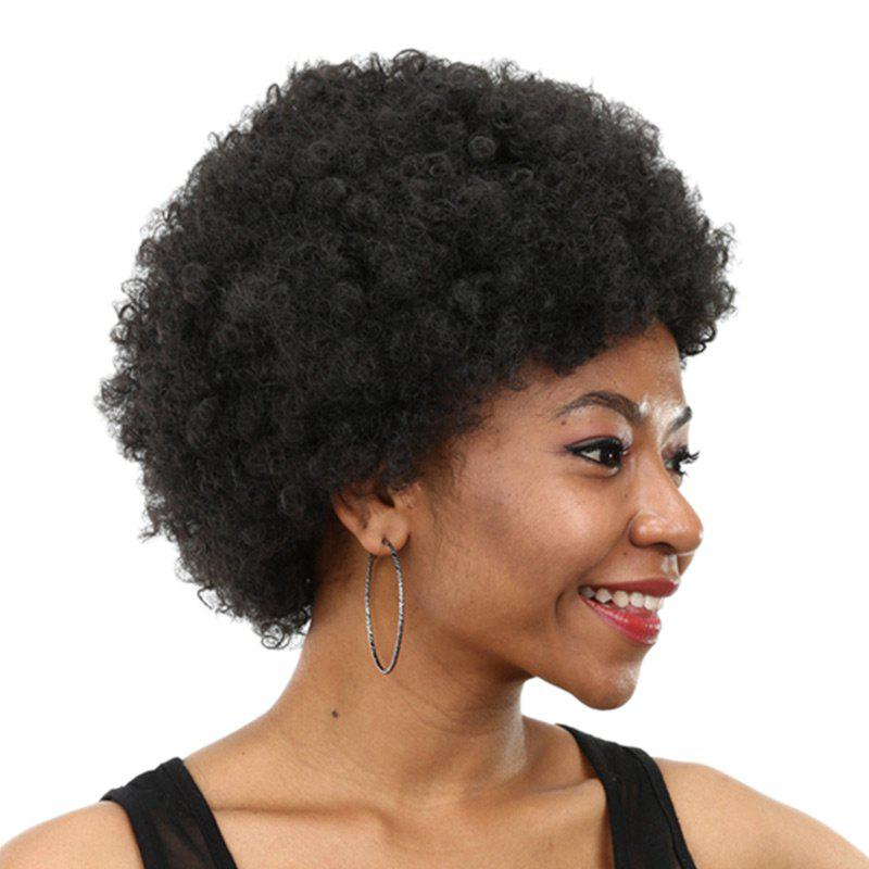 Short Inclined Fringe Bouffant Afro Curly Synthetic Wig - BLACK