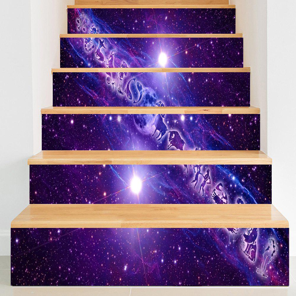 Twelve Constellations Print Decorative Stair Stickers - PURPLE 100*18CM*6PCS