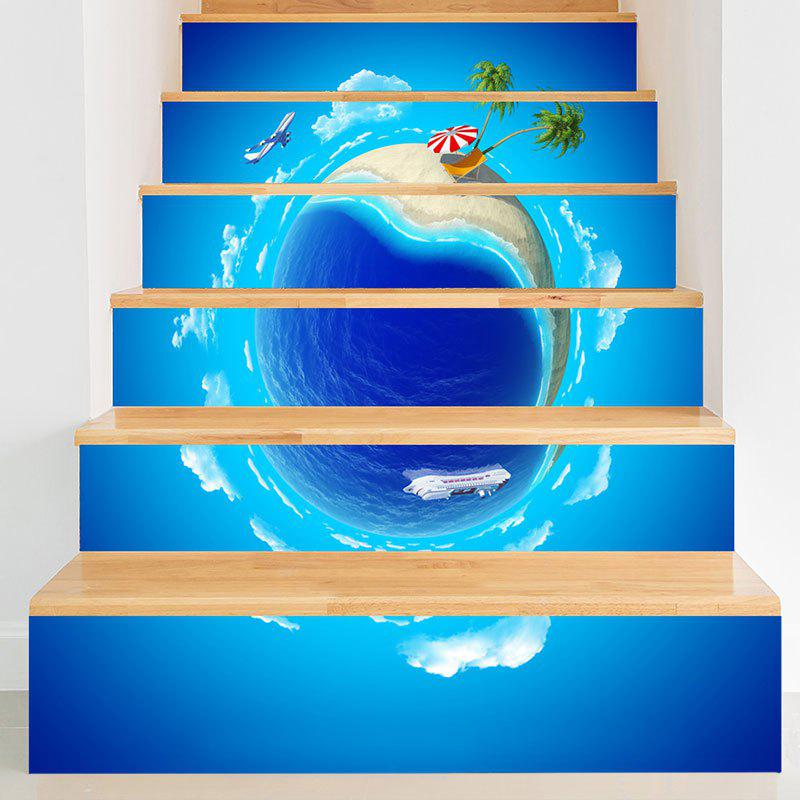 Summer Holidays 3D Planet Pattern Stair Stickers - BLUE 100*18CM*6PCS