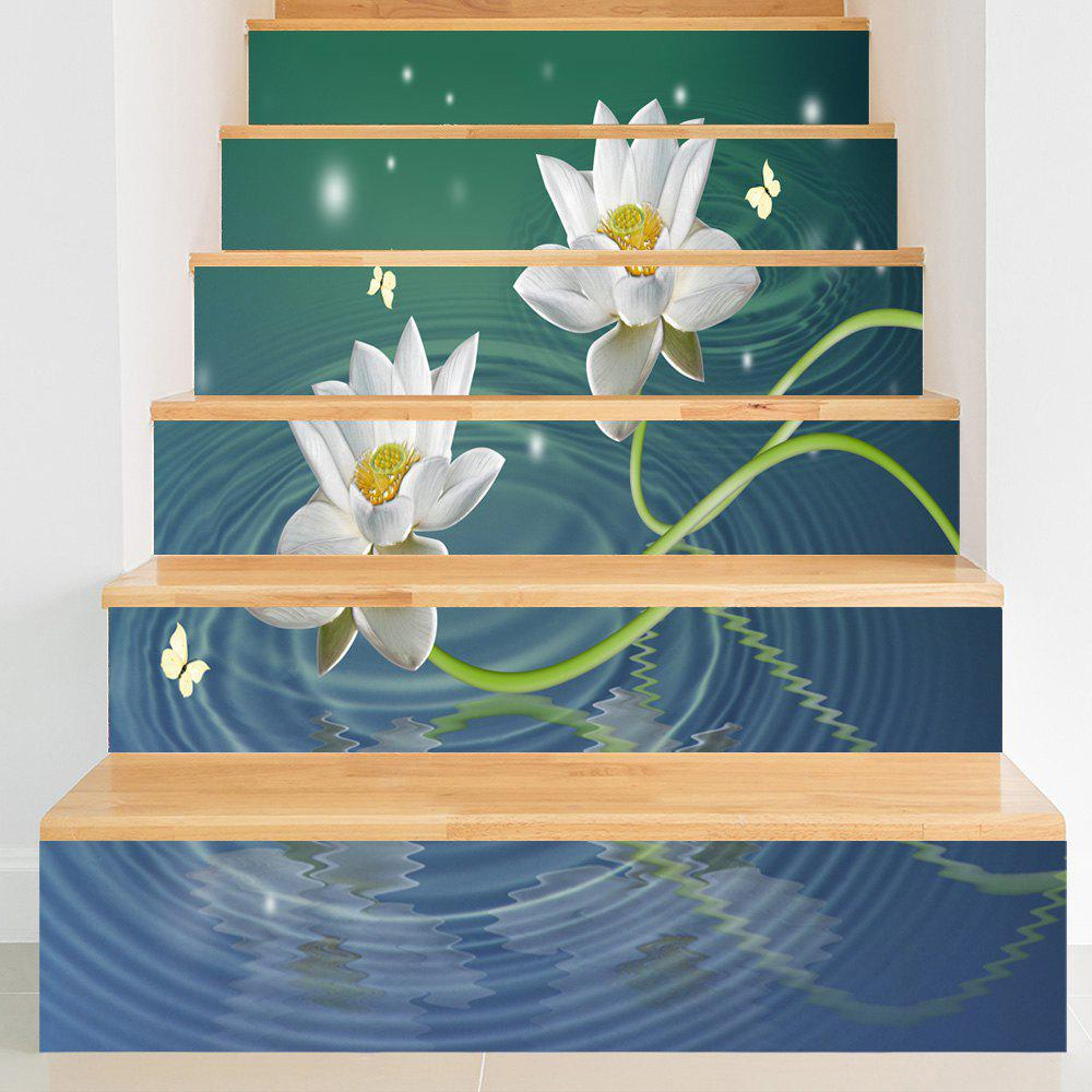 Lotus Butterflies Water Patterned Decorative Stair Decals - COLORMIX 100*18CM*6PCS