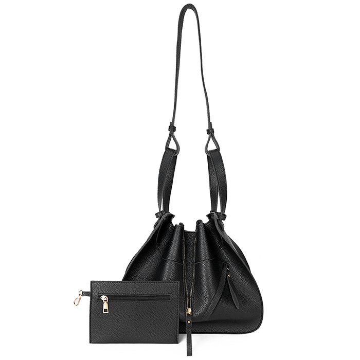 Transformable Faux Leather Shoulder Bag Set - BLACK