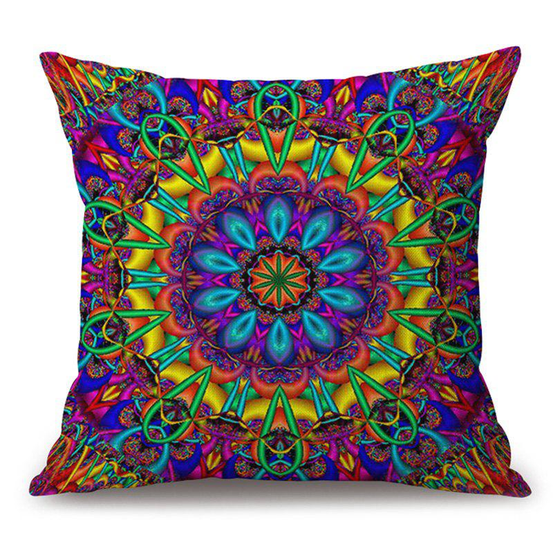 Colorful Mandala Pattern Cotton Linen Throw Pillow Case - COLORMIX 45*45CM