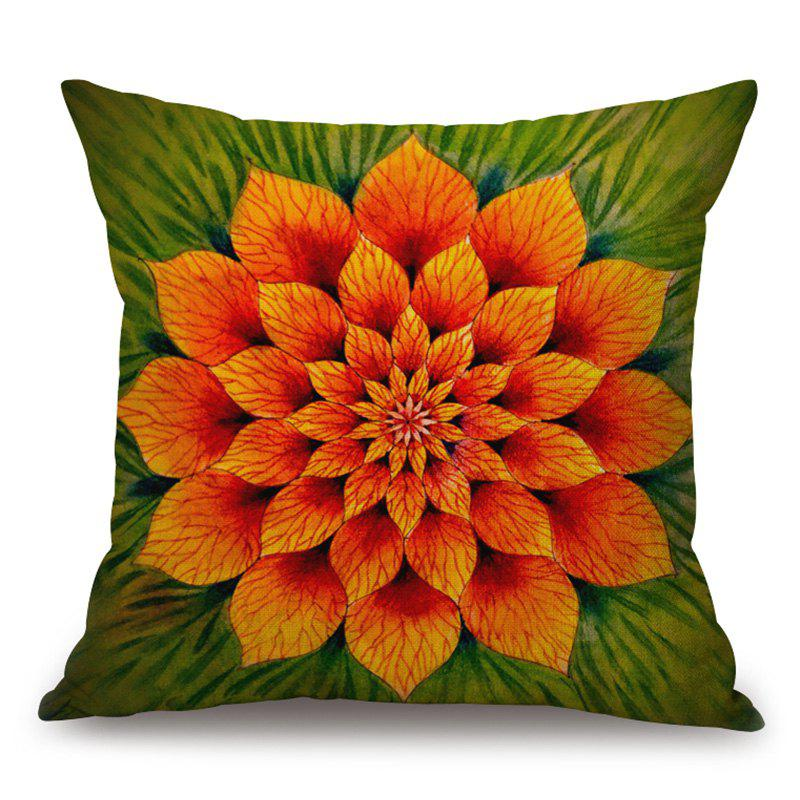 Flower Pattern Cotton Linen Throw Pillow Case - COLORMIX 45*45CM